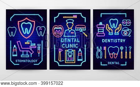 Dental Neon Flyer Concepts. Vector Illustration Of Stomatology Promotion.