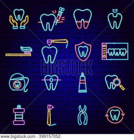 Dental Neon Icons. Vector Illustration Of Stomatology Promotion.