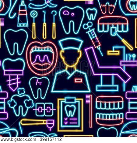 Dental Seamless Neon Pattern. Vector Illustration Of Stomatology Promotion.