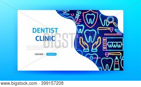 Dentist Clinic Neon Landing Page. Vector Illustration Of Stomatology Promotion.