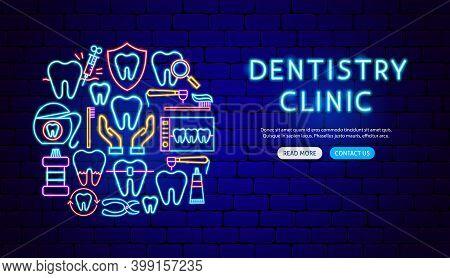 Dentistry Clinic Neon Banner Design. Vector Illustration Of Stomatology Promotion.