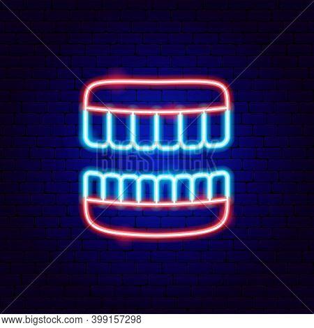 Jaw Neon Sign. Vector Illustration Of Stomatology Promotion.