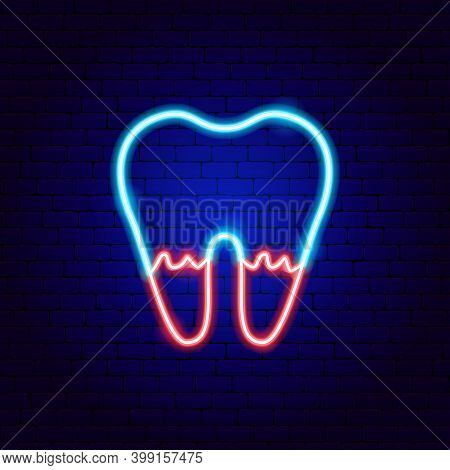 Tooth Root Neon Sign. Vector Illustration Of Stomatology Promotion.