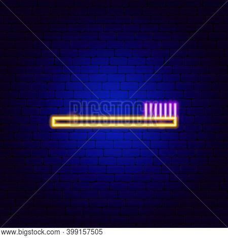 Toothbrush Neon Sign. Vector Illustration Of Stomatology Promotion.