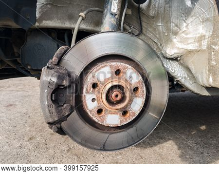Brake Disc System, Pads And Shield Of Vehicle Without Wheels For Repair Or Replacement Close Up, Sus