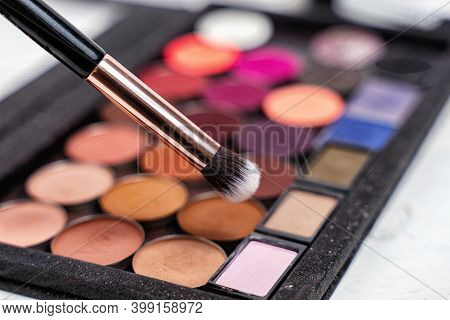 Colorful Eyeshadow Palette With Brush. Beauty Salon Concept