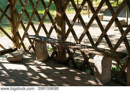 Gazebo With A Bench Inside.gazebo With A Bench Inside
