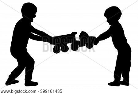 Children Fight Over A Toy. Brothers Quarrel. Silhouette Vector