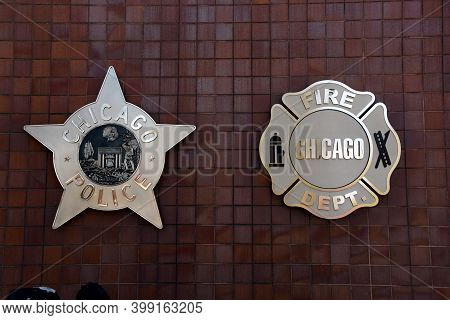 Chicago, Il April 20, 2020, Chicago Fire And Police Department Seals On The Outside Of The Chicago P