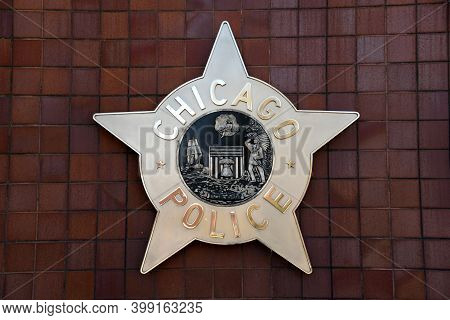 Chicago, Il April 20, 2020, Chicago Police Department Seal On The Outside Of The Chicago Public Safe