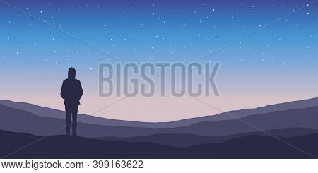 Lonely Girl Silhouette At Night On Starry Sky Background Vector Illustration Eps10