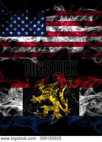 United States Of America, America, Us, Usa, American Vs Benelux Smoky Mystic Flags Placed Side By Si