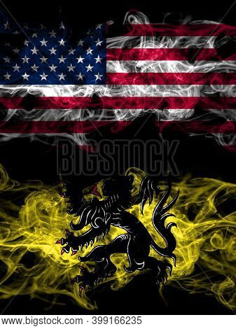 United States Of America, America, Us, Usa, American Vs Flanders, Flemish Smoky Mystic Flags Placed