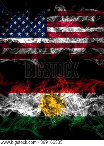 United States Of America, America, Us, Usa, American Vs Kurdistan, Kurdish, Kurds Smoky Mystic Flags