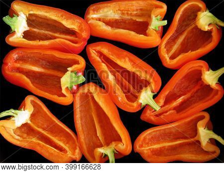 Red Ripe Stuffed Sweet Bulgarian Bell Pepper Paprika Vegetable Background Texture Photo