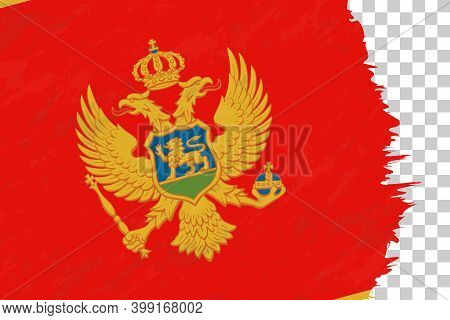 Horizontal Abstract Grunge Brushed Flag Of Montenegro On Transparent Grid. Vector Template.