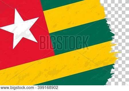 Horizontal Abstract Grunge Brushed Flag Of Togo On Transparent Grid. Vector Template.