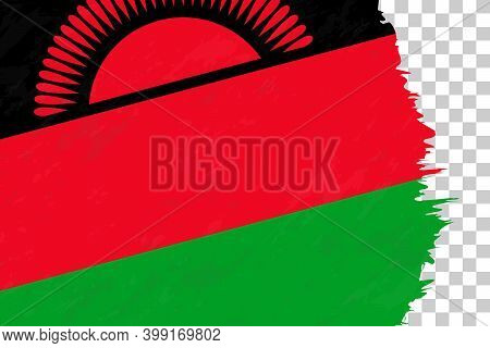 Horizontal Abstract Grunge Brushed Flag Of Malawi On Transparent Grid. Vector Template.