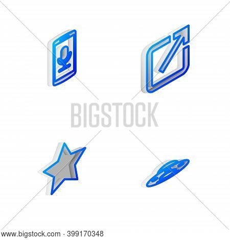 Set Isometric Line Open In New Window, Mobile Recording, Star And Ufo Flying Spaceship Icon. Vector