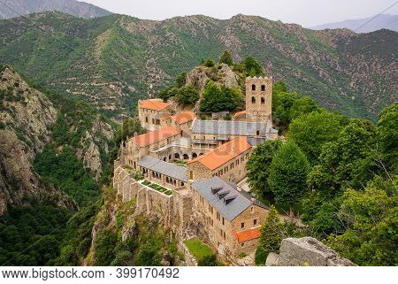 Birds-eye View Of The Abbaye Saint Martin De Canigou In The French Pyrenees, Southern France.. High