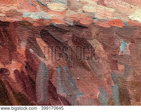 Close Up Of Abstract Oil Painting On Canvas Texture Wallpaper With Brush Strokes. Oil Painting On Ca