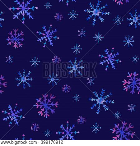 Watercolor Christmas Snowflakes Seamless Pattern. Hand Drawn Christmas Illustrations With Christmas