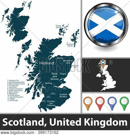 Scotland With Districts And Location On British Map. Vector Image