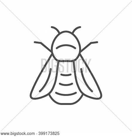 Bumblebee Line Outline Icon Or Insect Concept Isolated On White. Vector Illustration
