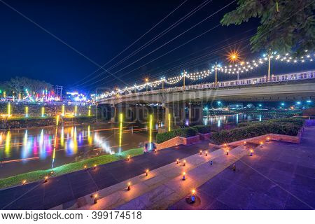 Beautiful Scene Light Color The Loy Krathong Festival 2020 At Pagoda In The Temple That Riverside Th