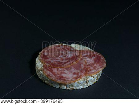 Grain Crispbreads Crispy Rice Diet Bread And Smoked Sausage Sandwich. Rice Cake Puffed Rice With Sal