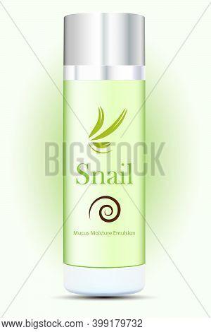 Vector Draving. Advertising. Skin Repairing Snail Mucus Moisture Emulsion.