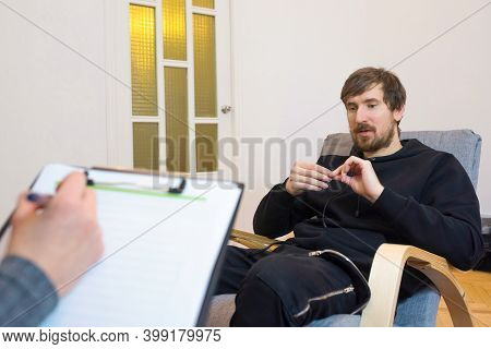 A Man For A Consultation In The Office Of A Psychologist. Emotional Health Problems. Depression, Soc