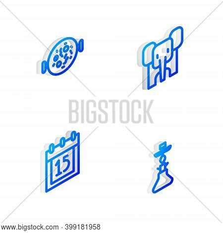 Set Isometric Line Elephant, Chicken Tikka Masala, Independence Day India And Hookah Icon. Vector