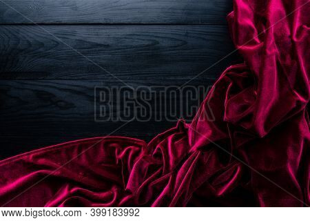 Table Cloth On Empty Black Wooden Background, Luxury Red Fabric Velvet On Black Wooden Table Mockup