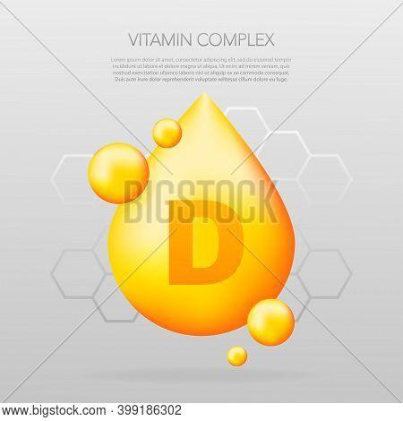 Vitamin D Shining Pill Capcule Icon. Shining Golden Substance Drop. Meds Ads. Beauty Treatment Nutri