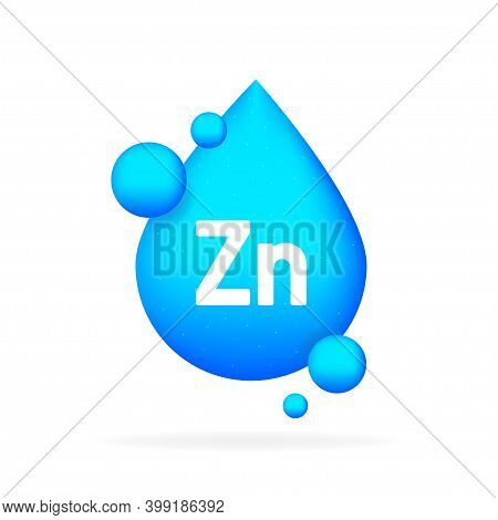 Mineral Blue Shining Pill Capsule Icon. Zn Zink.