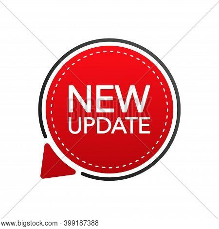New Update Red Label On White Background. Red Sticker. Vector Illustration.