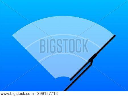 Car Windscreen Wiper Glass, Wiper Cleans The Windshield On Blue Background. Flat Design. Vector Illu