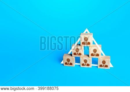 People Form A Pyramid Order. Arrangement For Subordinating People In Business Structures, Society. D