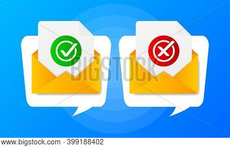 Two Envelope With Approved And Rejected Letters On Blue Background. Quote Speech Bubble. Vector Illu