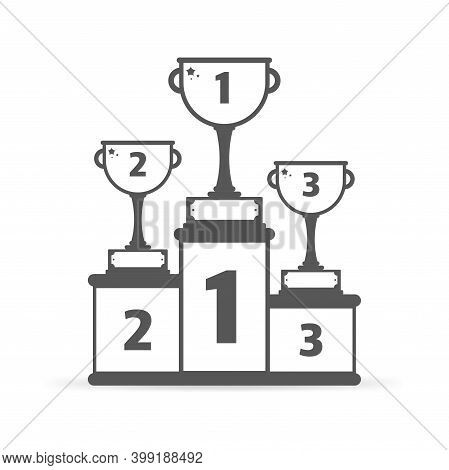 Podiums For Winners With 1st, 2nd And 3rd Places On White Background. Gray Icon. Vector Illustration