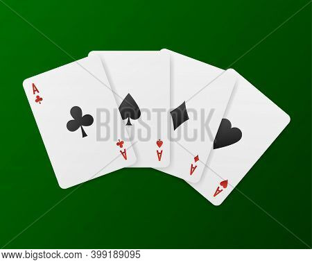 Playing Cards In The Casino On A Green Background. Vector Illustration.