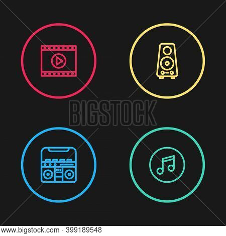 Set Line Home Stereo With Speakers, Music Note, Tone, Stereo And Online Play Video Icon. Vector