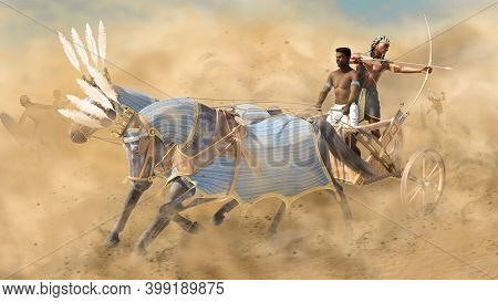Ancient Egyptian War Chariot In Battle With Archer And Driver, 3d Render.