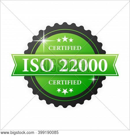 Iso Certified 22000 Green Rubber Stamp With Green Rubber On White Background. Realistic Object. Vect