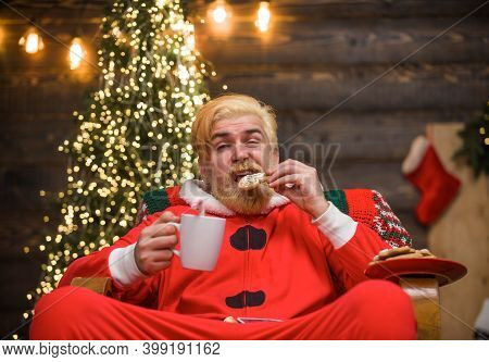 New Year. Santa With Cookies. Santa Claus On Christmas Background. Santa Costume. Christmas Gift. Sa