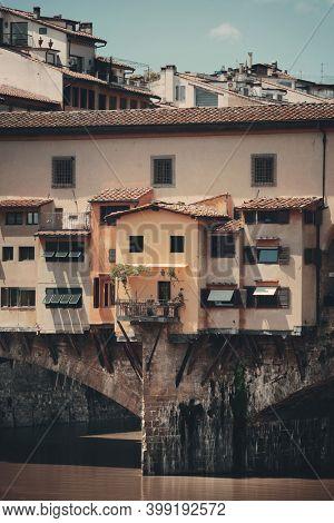 Ponte Vecchio closeup in Arno River in Florence Italy