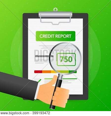 Hand Holds Magnifying Glass Over Tablet With Credit Score On Green Background. Vector Illustration.