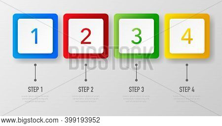Infographics Whith 1, 2, 3 And 4 Steps Of Different Colors On White Background. Vector Illustration.