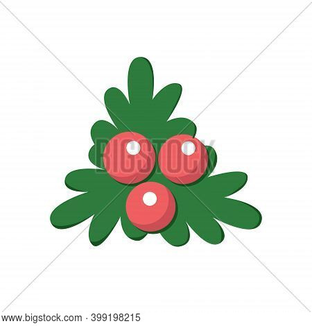 Holly, Ilex Branch With Berries And Leaves, Mistletoe Set. Christmas, New Year Holiday Symbol. Isola